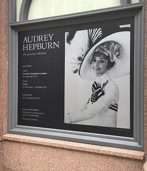 Christie's Audrey Hepburn sale: auction house display printing