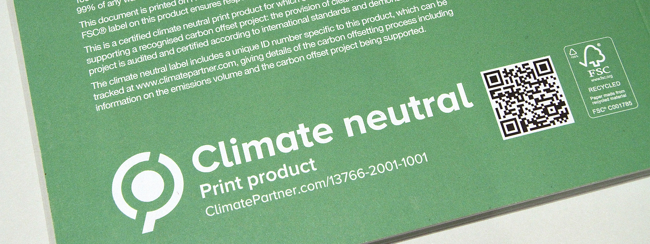 carbon neutral print with QR code
